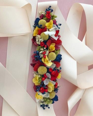 Cinturón de cinta con flor natural preservada de invitada