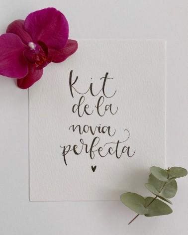 Kit de la novia perfecta, dedicatoria con lettering