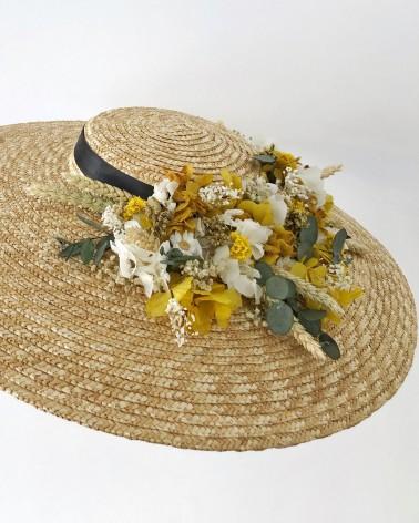 Pamela de paja con flores preservadas