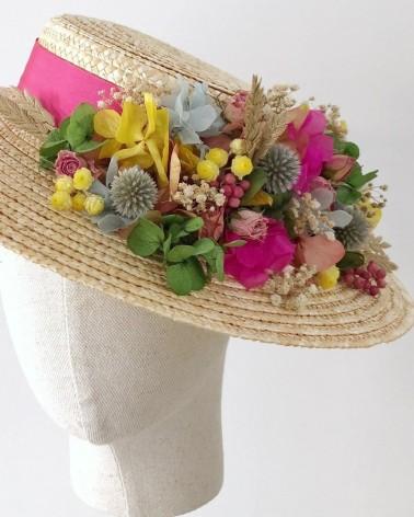 Canotier con flores preservadas personalizado para bodas de dia