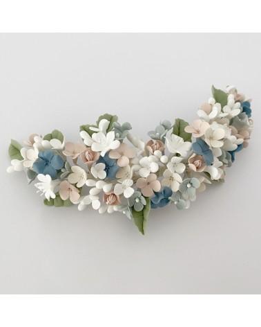 Tocado de flores de porcelana de novia