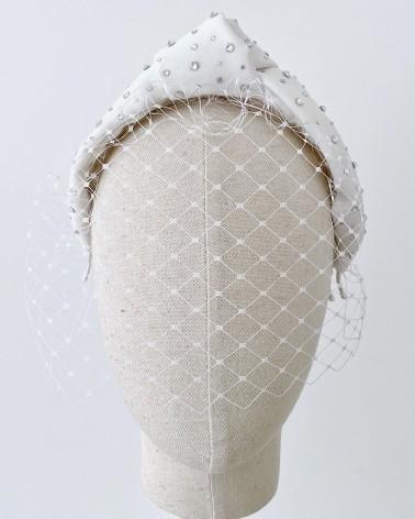 Diadema desmontable de crepe de novia