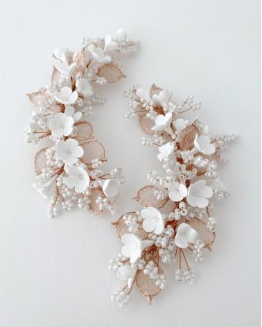 Apliques de flores de porcelana