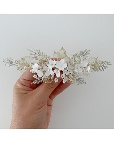 Tocado de flores de porcelana fria para novia